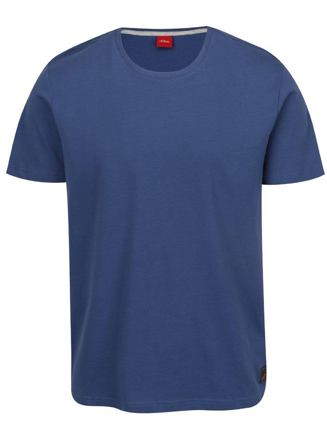 Modré pánské basic triko s krátkým rukávem s.Oliver