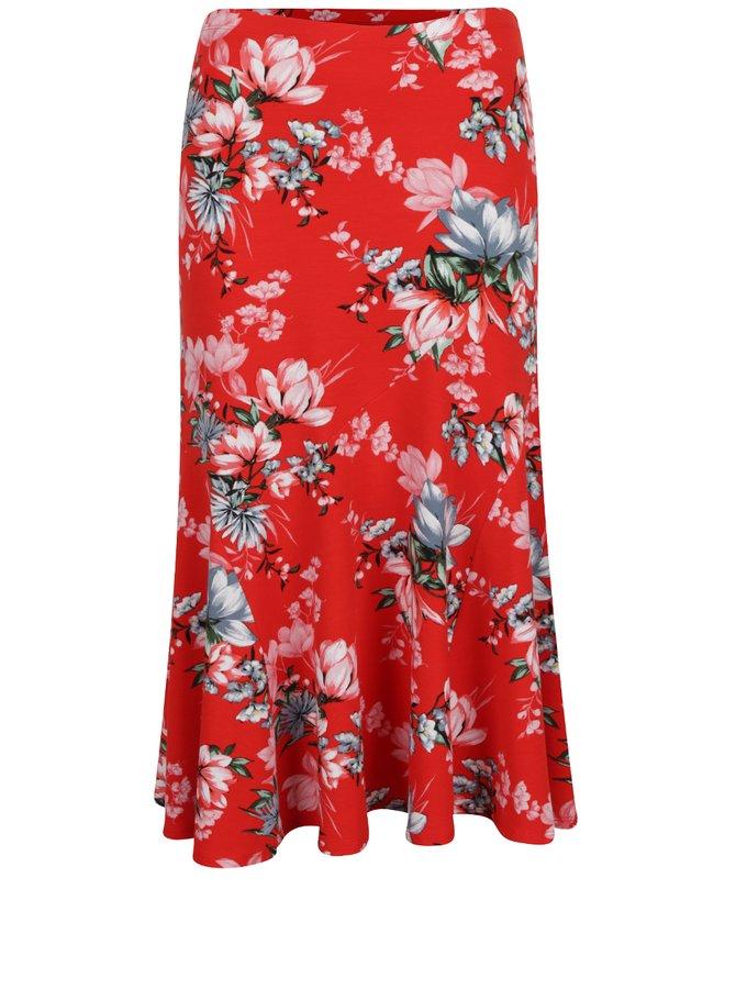 Fustă roșie M&Co cu imprimeu floral