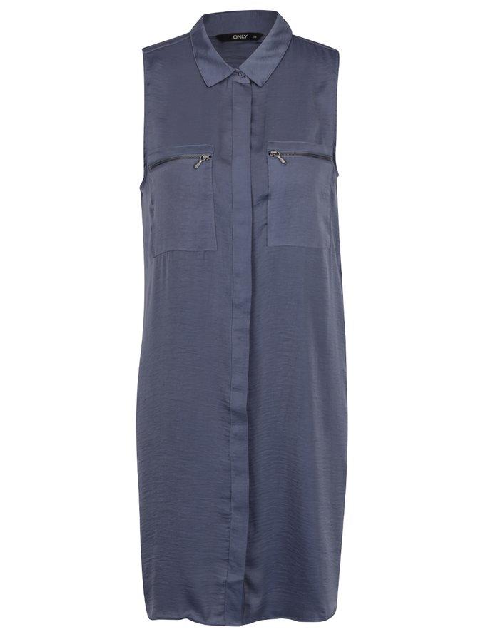 Modré košilové šaty bez rukávů s kapsami ONLY Denice