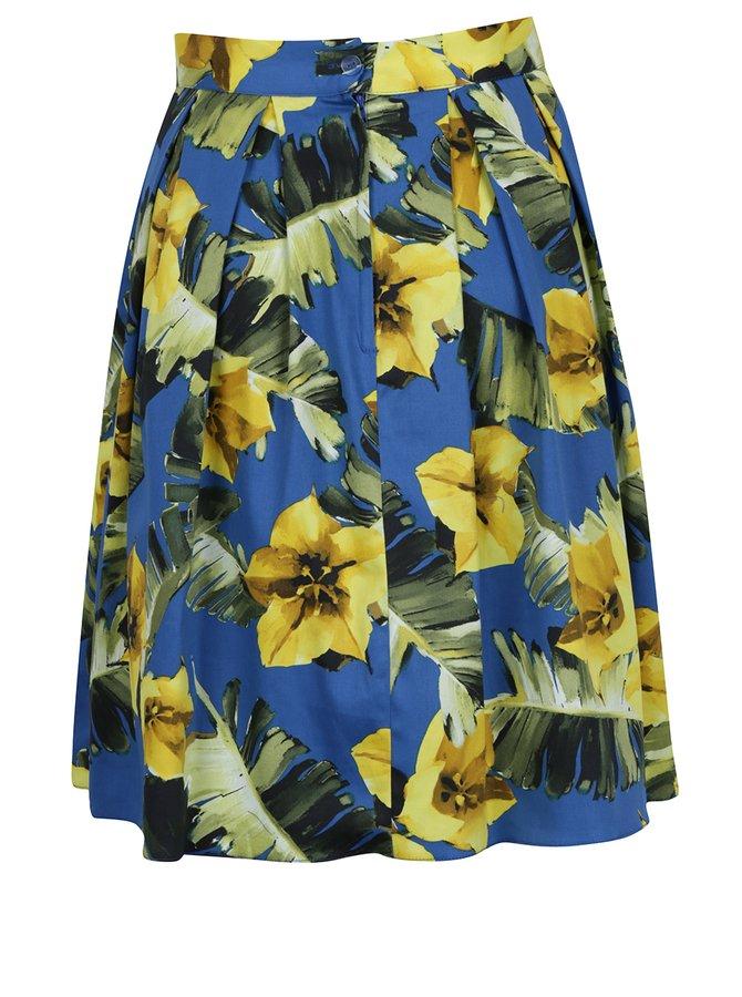 Modrá skládaná květovaná sukně Dorothy Perkins