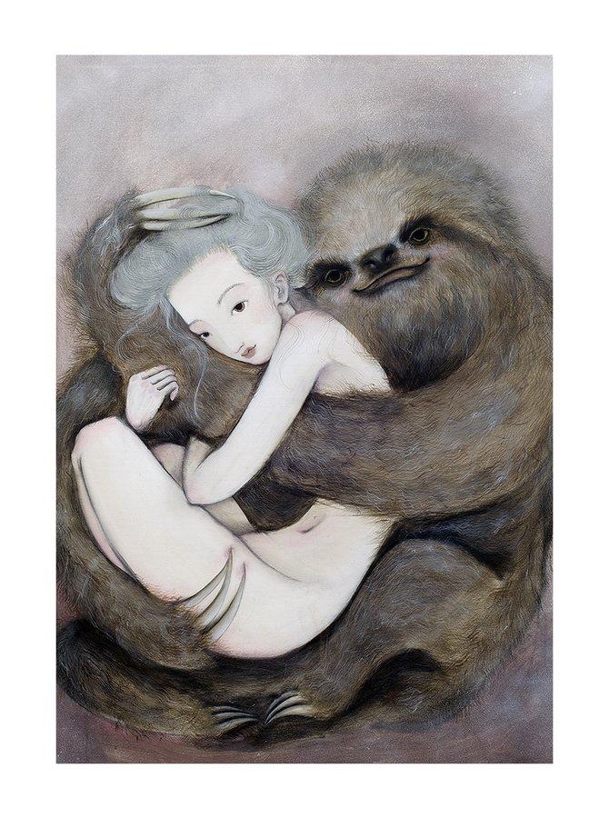 Poster Lenochod, in nuante de crem si gri, Lena Brauner, 50 x 70 cm