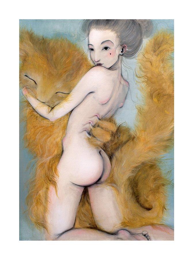 Poster Kocur, in nuante de maron, albastru si crem, Lena Brauner, 50 x 70 cm