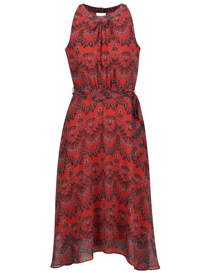Červené midišaty s motivem motýlů a se zavazováním v pase M&Co