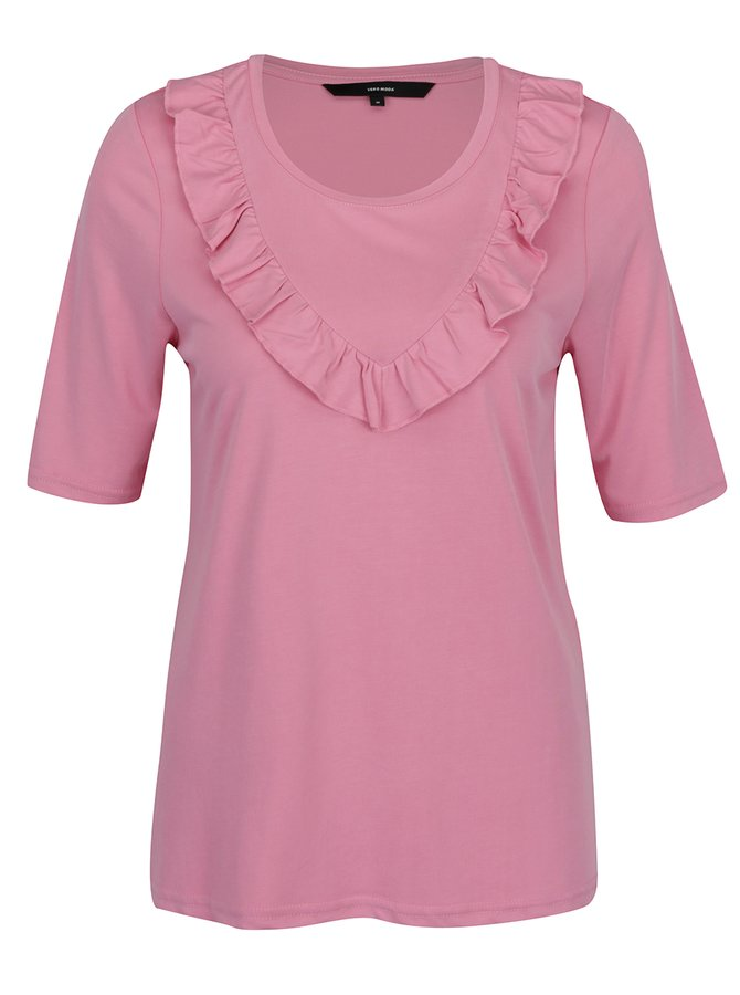Tricou roz cu volănaș VERO MODA Maria