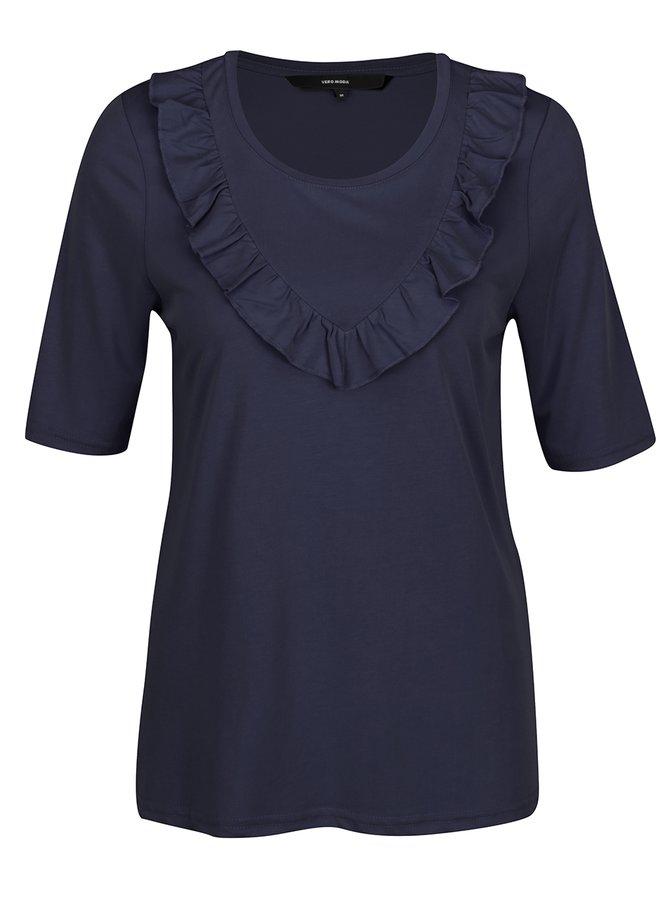 Tricou bleumarin cu volănaș VERO MODA Maria