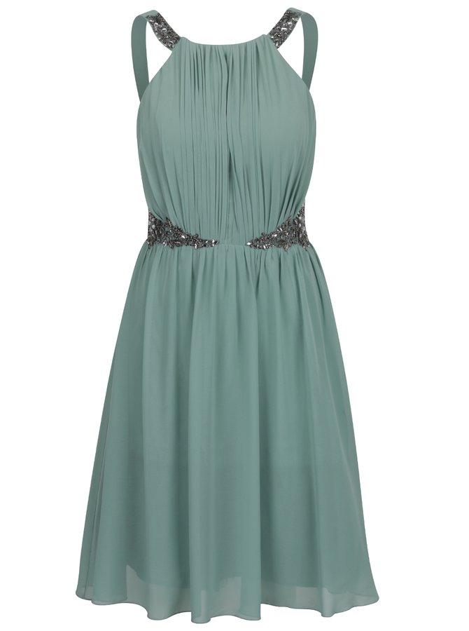 Světle zelené šaty s korálkovou aplikací Little Mistress