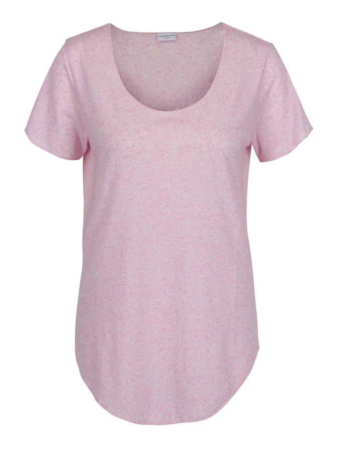 Růžové volné žíhané tričko s příměsí lnu Jacqueline de Yong