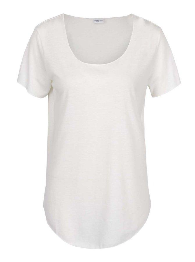 Krémové volné tričko s příměsí lnu Jacqueline de Yong