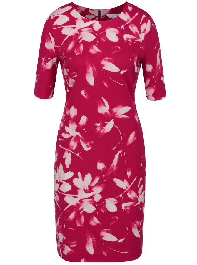 Tmavě růžové květované pouzdrové šaty Dorothy Perkins