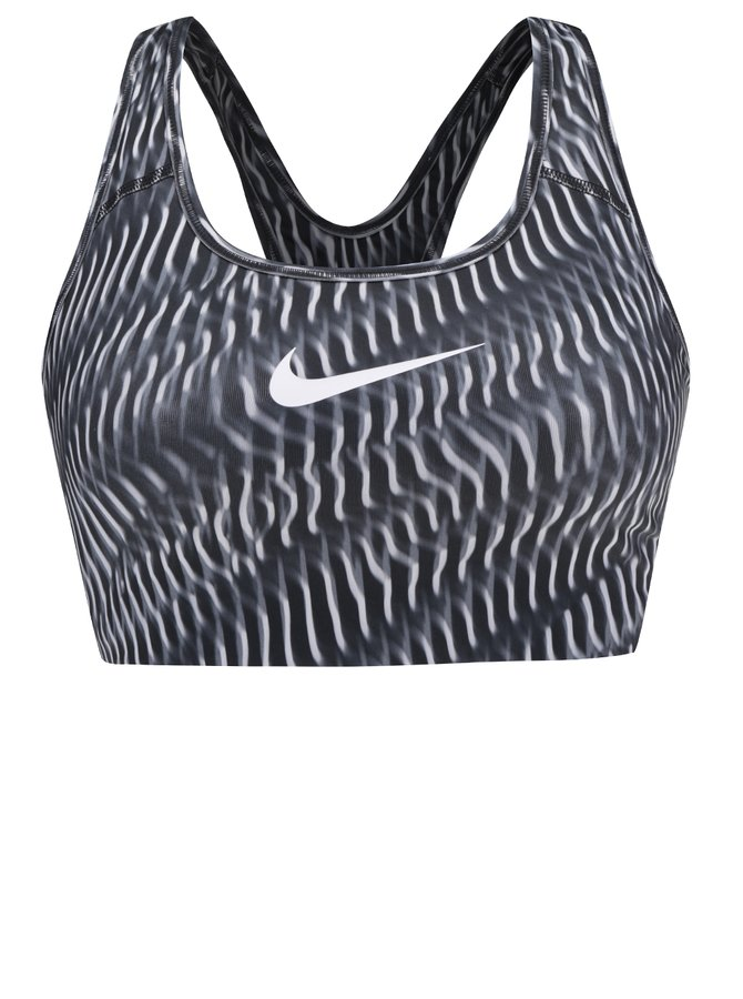 Bílo-černá dámská sportovní podprsenka s logem Nike Pro Classic