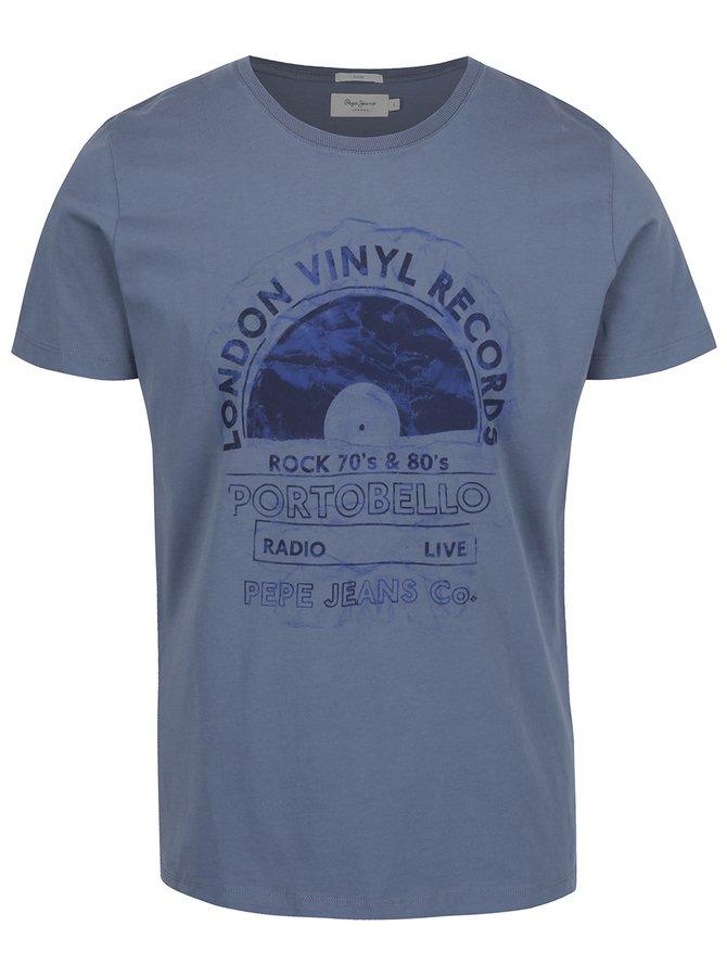 Modré pánské triko s potiskem Pepe Jeans Bairt