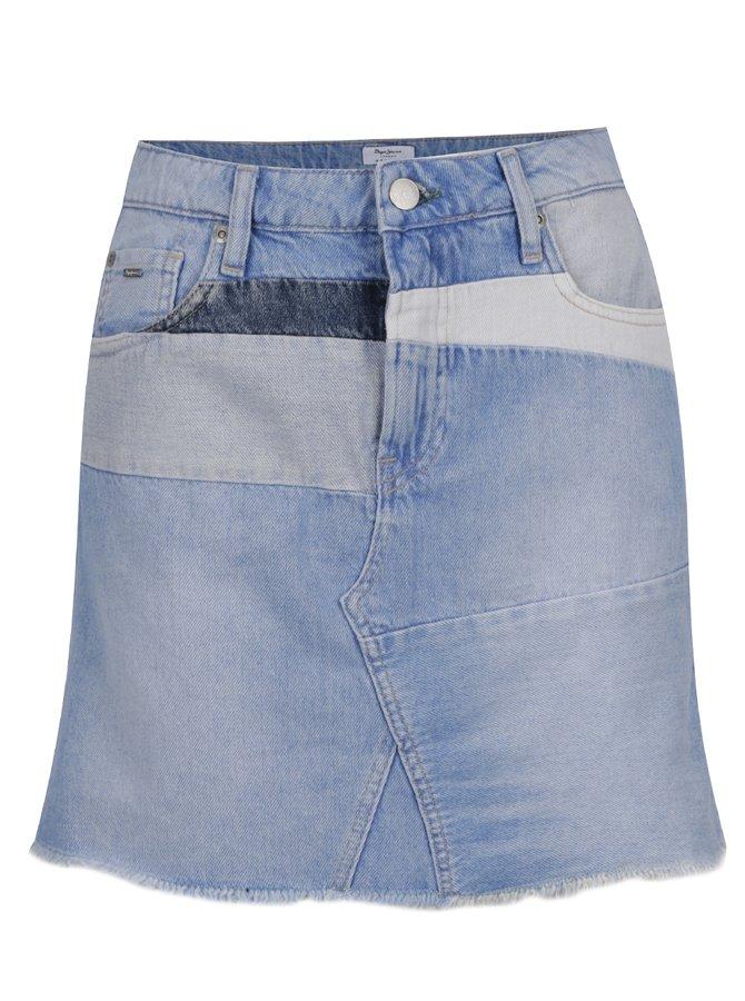 Fustă bleu Pepe Jeans Layercake Skirt din denim