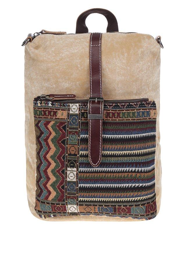 Rucsac bej cu motive etno Urban Bag