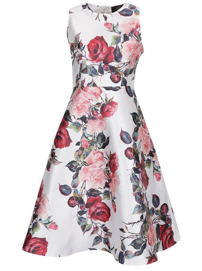 Krémové květované šaty bez rukávů AX Paris