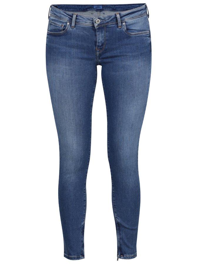 Blugi skinny albaștri Pepe Jeans Cher cu aspect prespălat