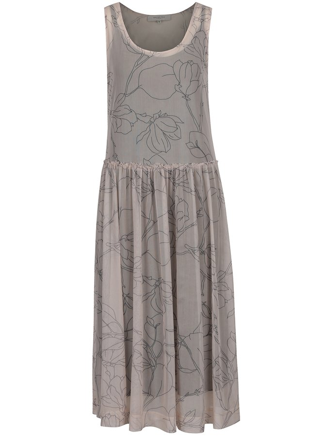 Béžové vzorované midi šaty 2v1 Selected Femme Eden