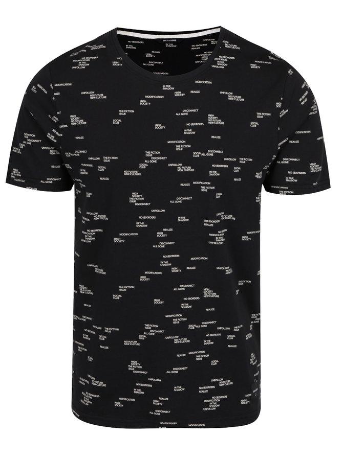 Tricou negru cu  imprimeu crem ONLY & SONS Anker