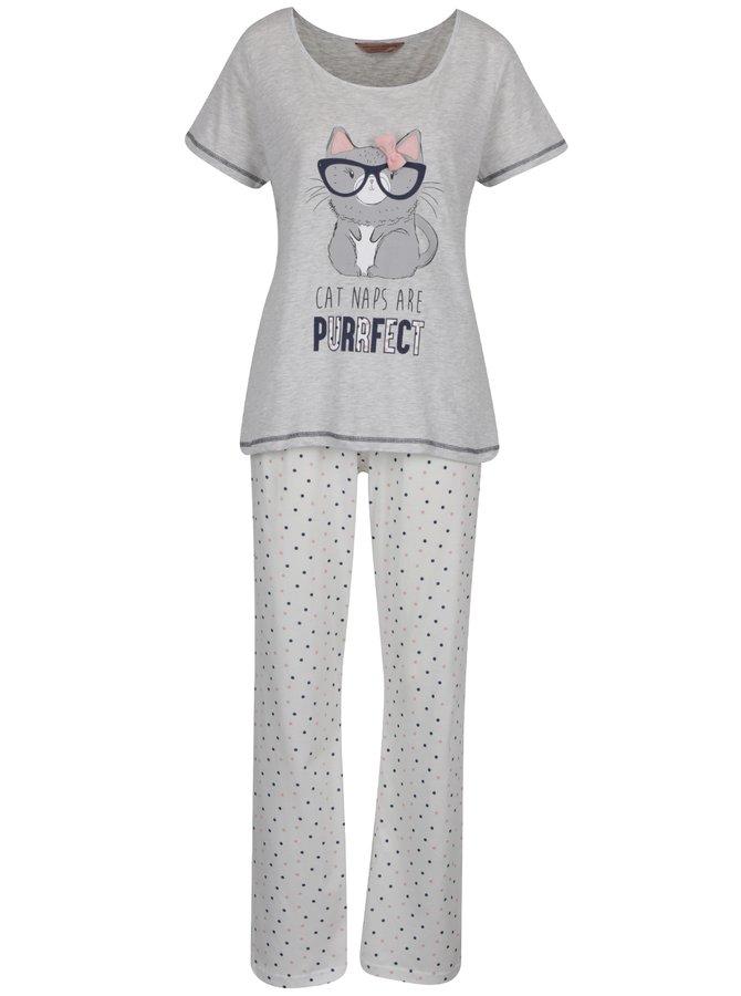 Šedo-krémové pyžamo s potiskem kočky Dorothy Perkins