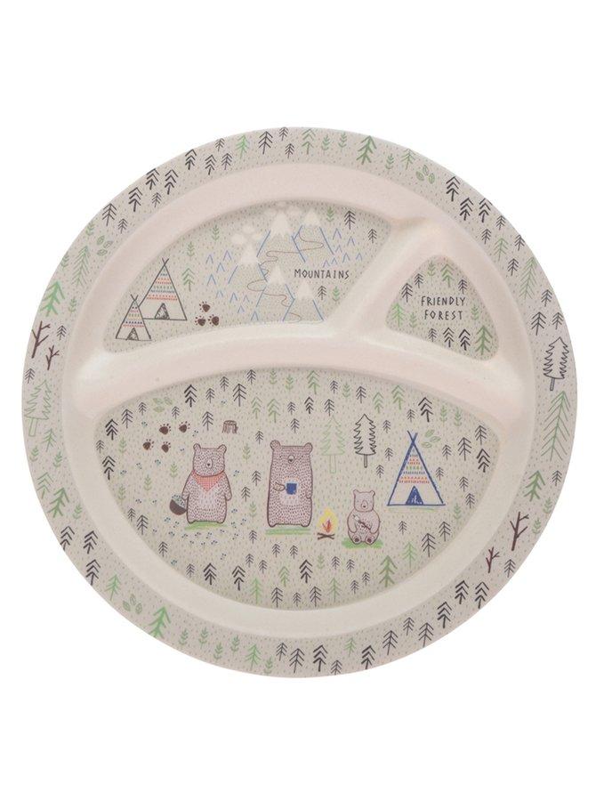 Krémový dětský talíř s motivem lesa Sass & Belle