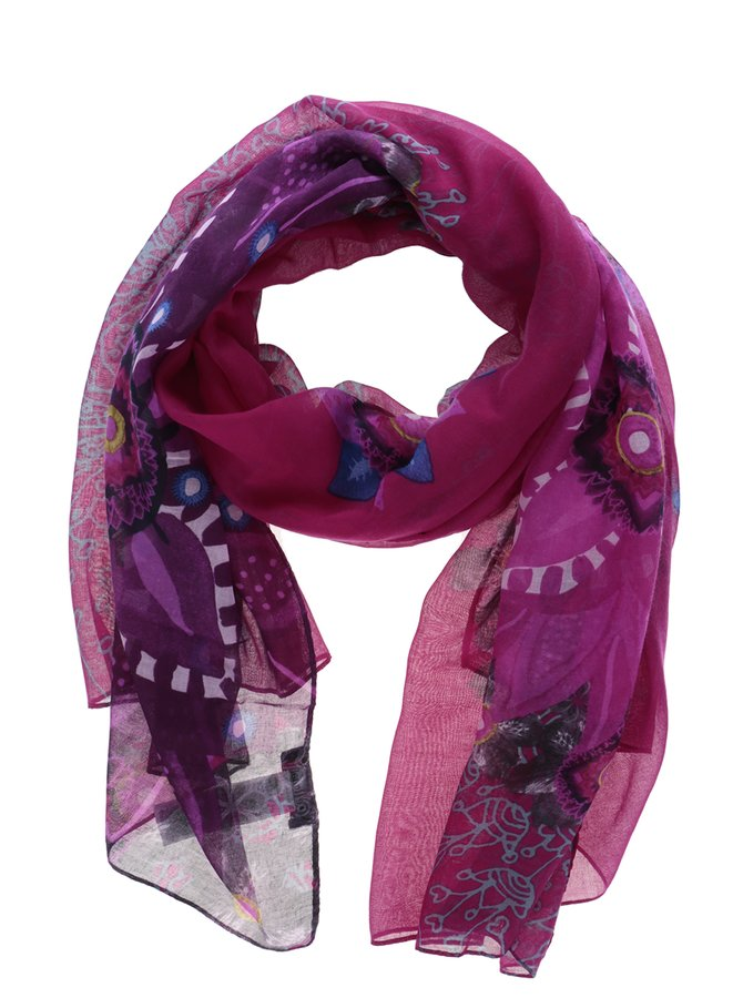 Eșarfă roz cu print Desigual Rectangle Bollywood