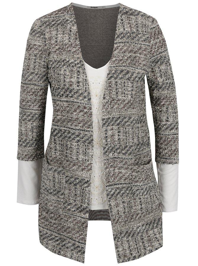 Krémovo-šedý cardigan s všitým tričkem Desigual Patricia