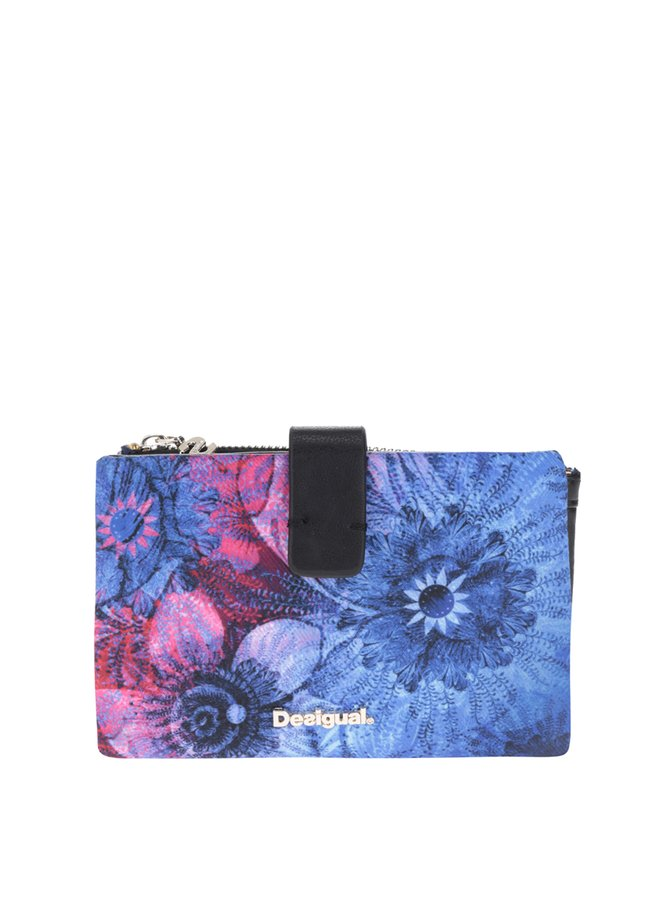 Portofel albastru Desigual imprimeu floral