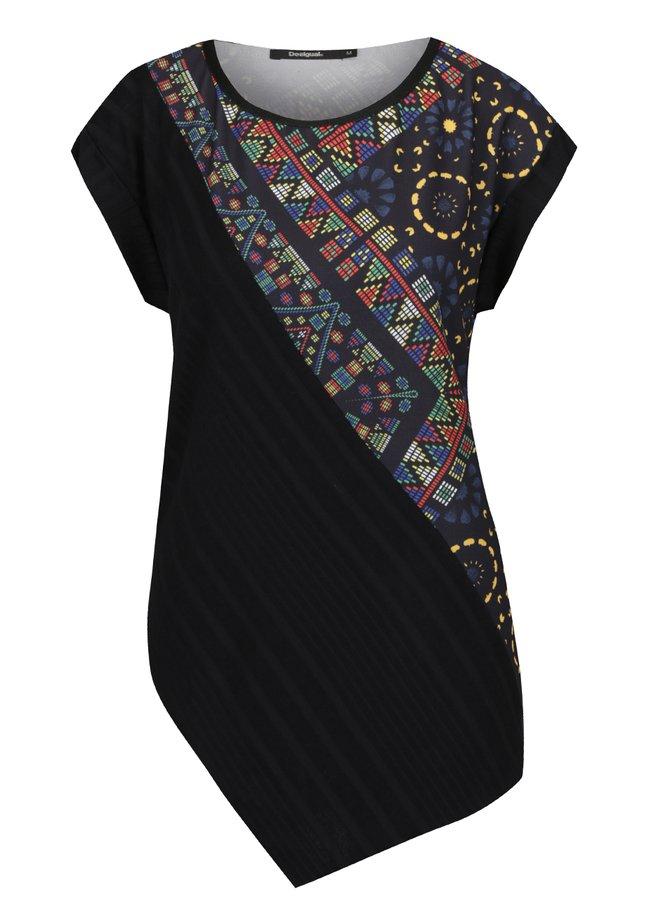 Tricou negru Desigual asimetric