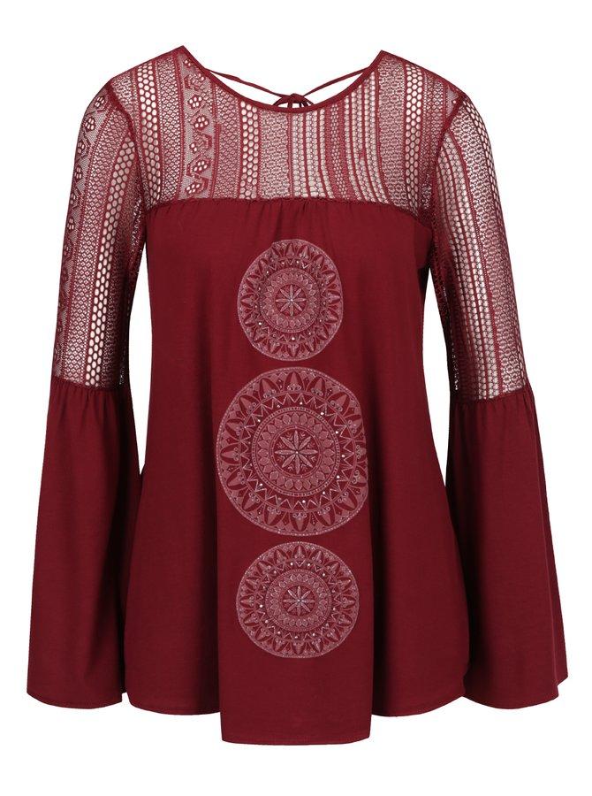 Bluză roșie cu croială cloș Desigual Neusifu