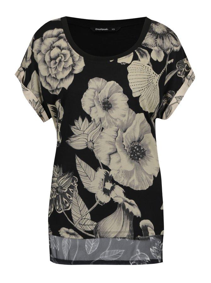 Tricou negru cu model floral bej și tiv asimetric  Desigual Irisa