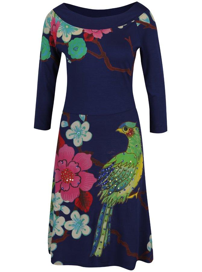 Tmavě modré květované šaty s flitrovým zdobením Desigual Nadia