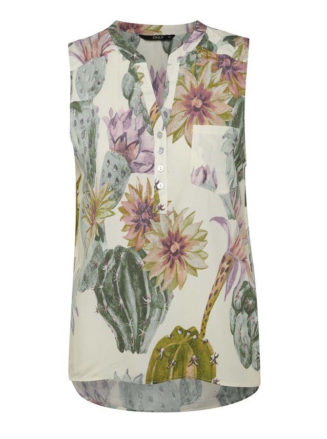 Bluză crem & verde ONLY Nova model floral