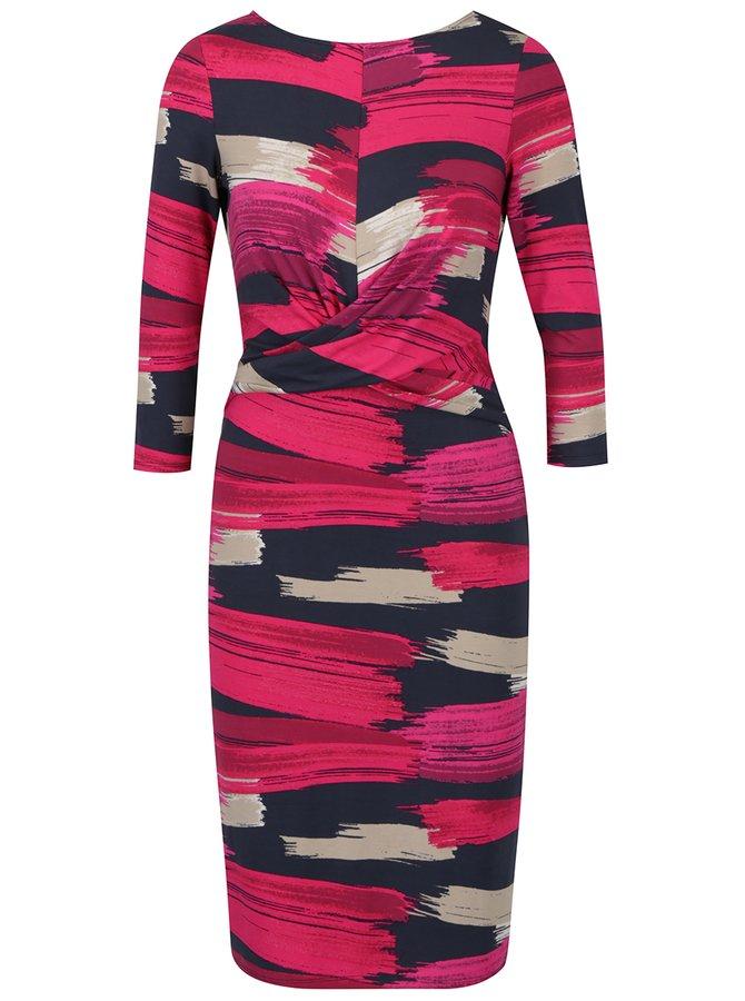 Šedo-růžové vzorované šaty s řasením na zádech Dorothy Perkins