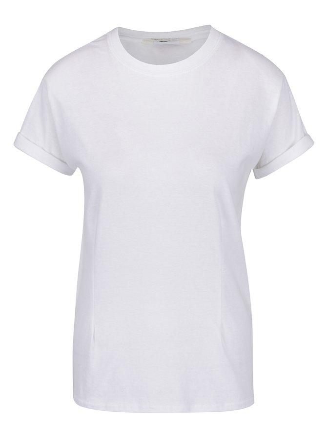 Bílé basic tričko s vycpávkami na ramenou Miss Selfridge