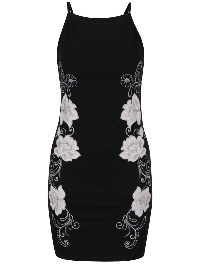 Černé minišaty s výšivkou květů a průsvitnými detaily Miss Selfridge Petites