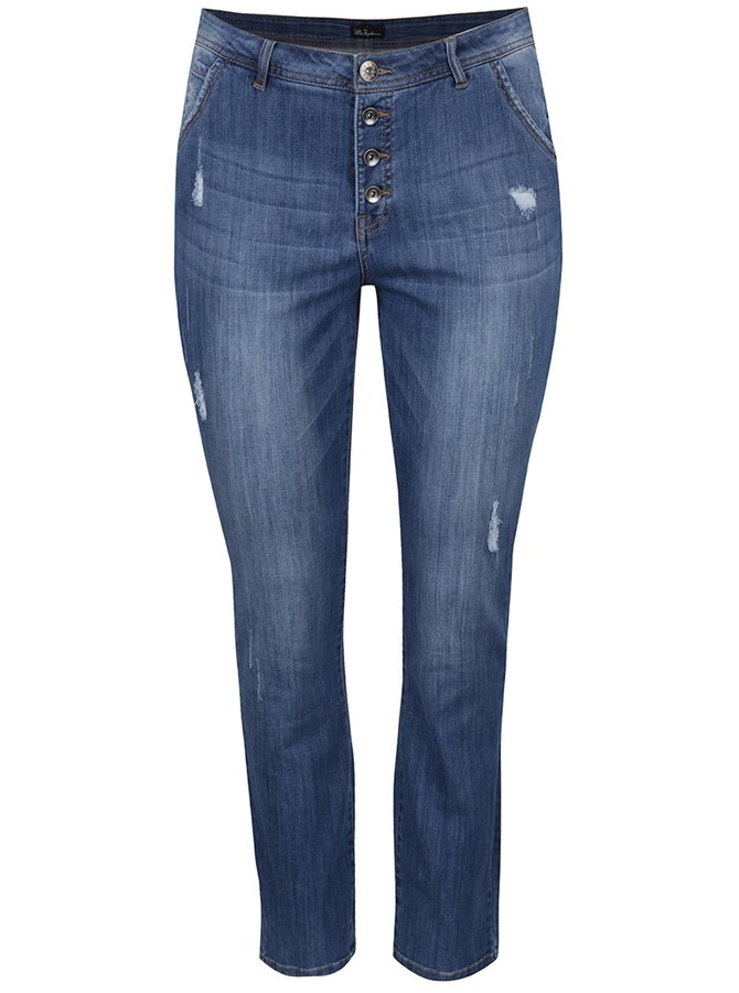 Modré džíny s potrhaným efektem Ulla Popken
