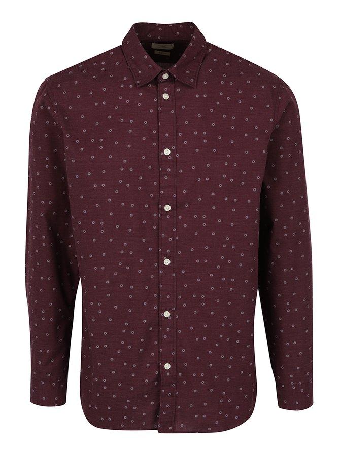 Vínová vzorovaná košile Selected One Josh