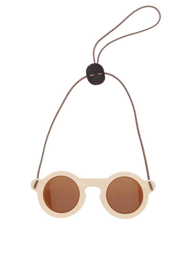 Hnědé dřevěné unisex sluneční brýle s hnědými skly OO Eyewear Teddy