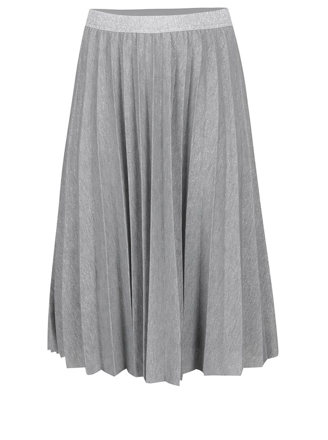 Šedá plisovaná sukně s prošíváním ve stříbrné barvě Ulla Popken