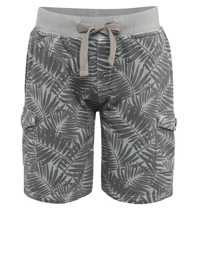 Pantaloni sport scurți gri Bóboli din bumbac cu model