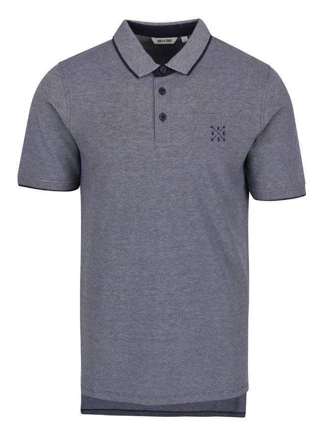 Tmavě modré žíhané polo triko ONLY & SONS Stan