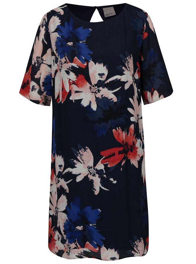 Rochie bleumarin cu print floral multicolor VERO MODA Megan