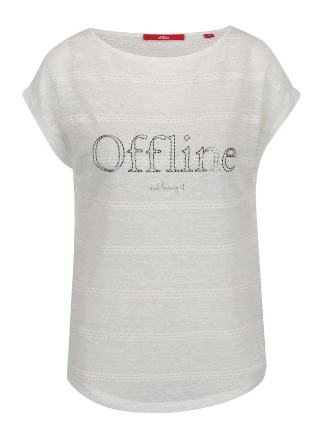 Krémové dámské volné tričko s nápisem  s.Oliver