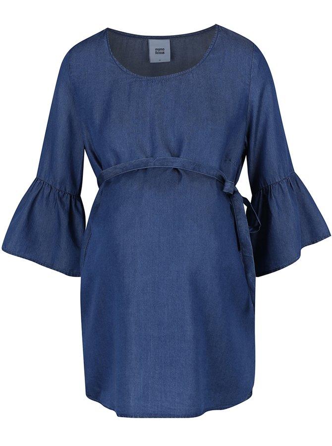 Modrá těhotenská halenka s 3/4 rukávy Mama.licious Linette