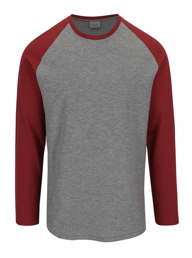 Červeno-šedé triko s dlouhým rukávem Jack & Jones New Stan