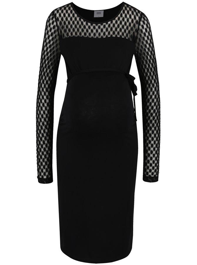 Černé těhotenské šaty s dlouhým rukávem Mama.licious Saka