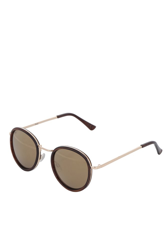 Hnědé dámské oválné sluneční brýle s detaily ve zlaté barvě Nalí