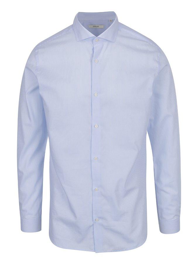 Světle modrá pruhovaná slim fit  košile Jack & Jones Premium Costa Rica