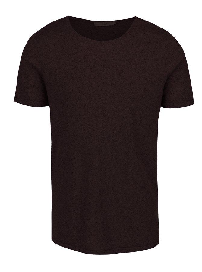 Vínové žíhané basic triko s příměsí lnu Jack & Jones Randy