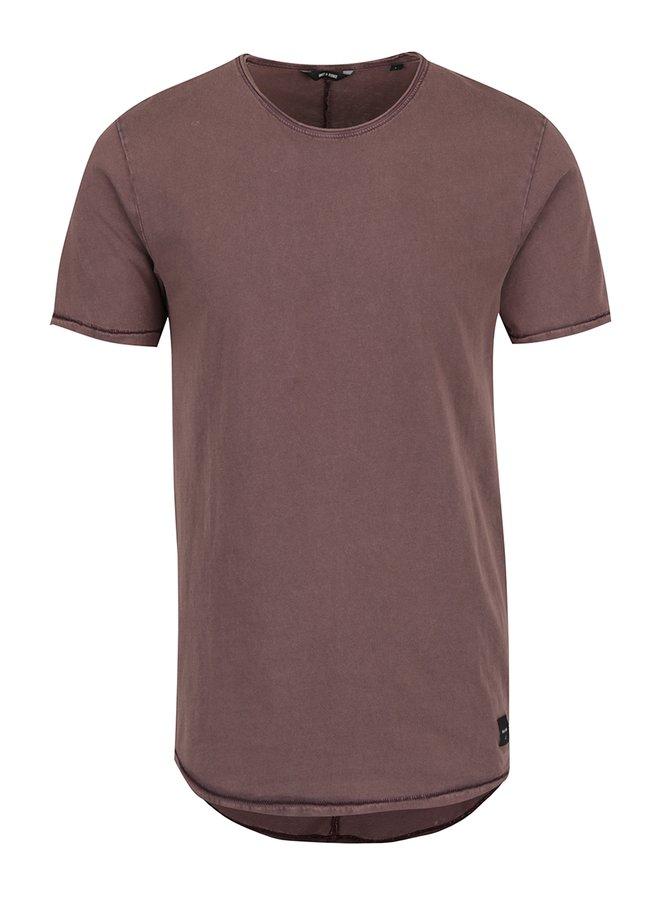 Tricou roșu burgundy cu aspect decolorat ONLY & SONS Pauli