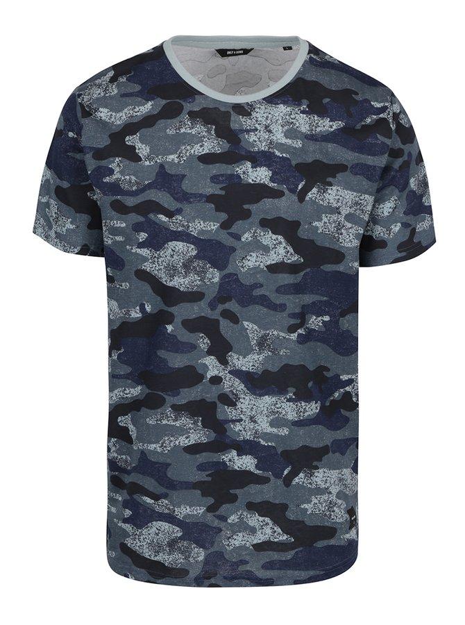 Tmavě modré triko s maskáčovým vzorem ONLY & SONS Hans